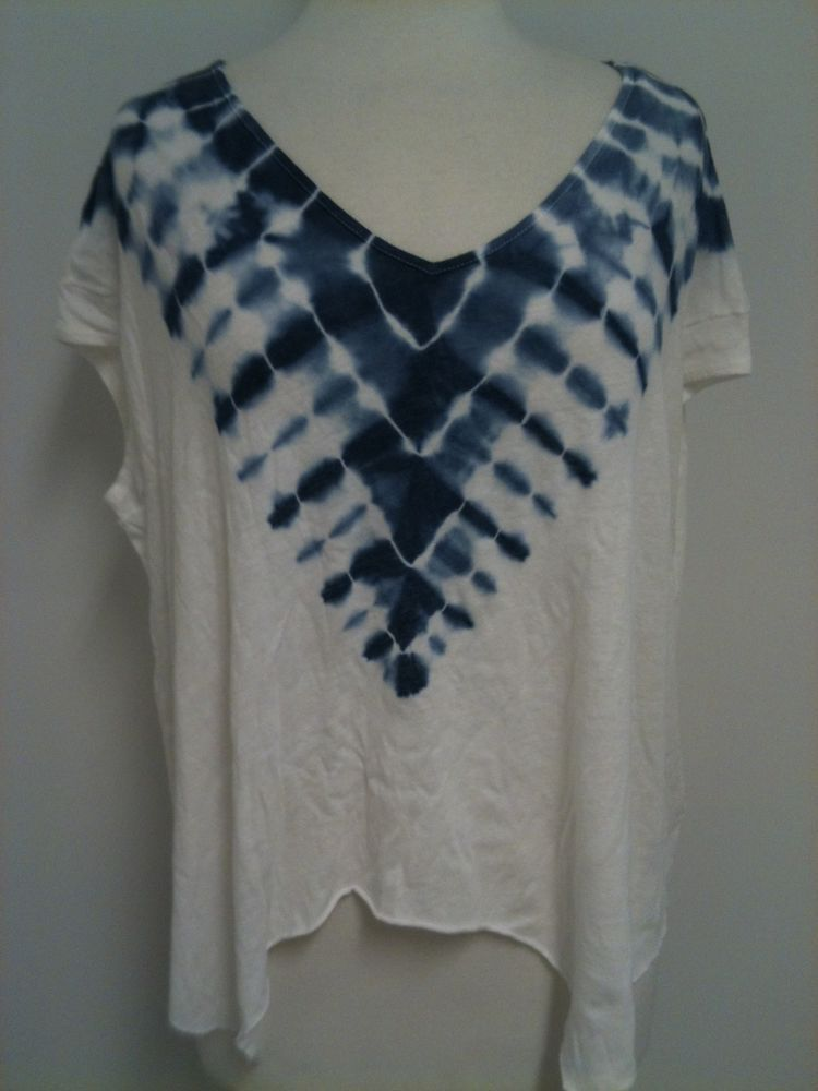NWT FREE PEOPLE Boho We The Free Tie Dye Double Team A Line T Shirt Top #FreePeople #GraphicTee