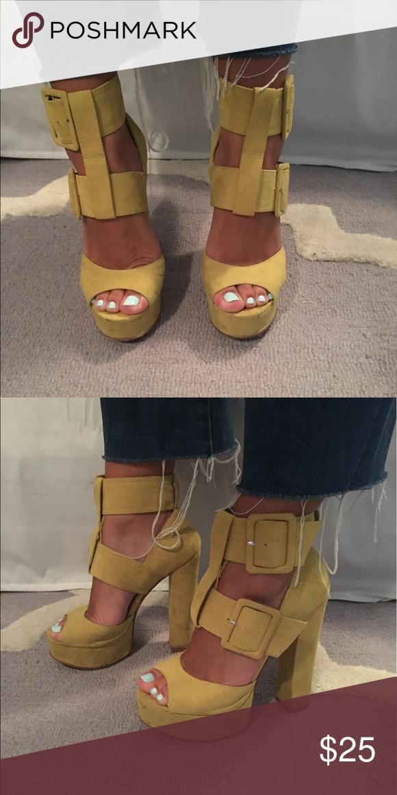 Nasty gal Shoe cult heels Yellow/green strapped block heels Nasty Gal Shoes Heels