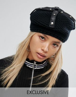 6fcc081114c Shikumi Black Studded Knitted Beret