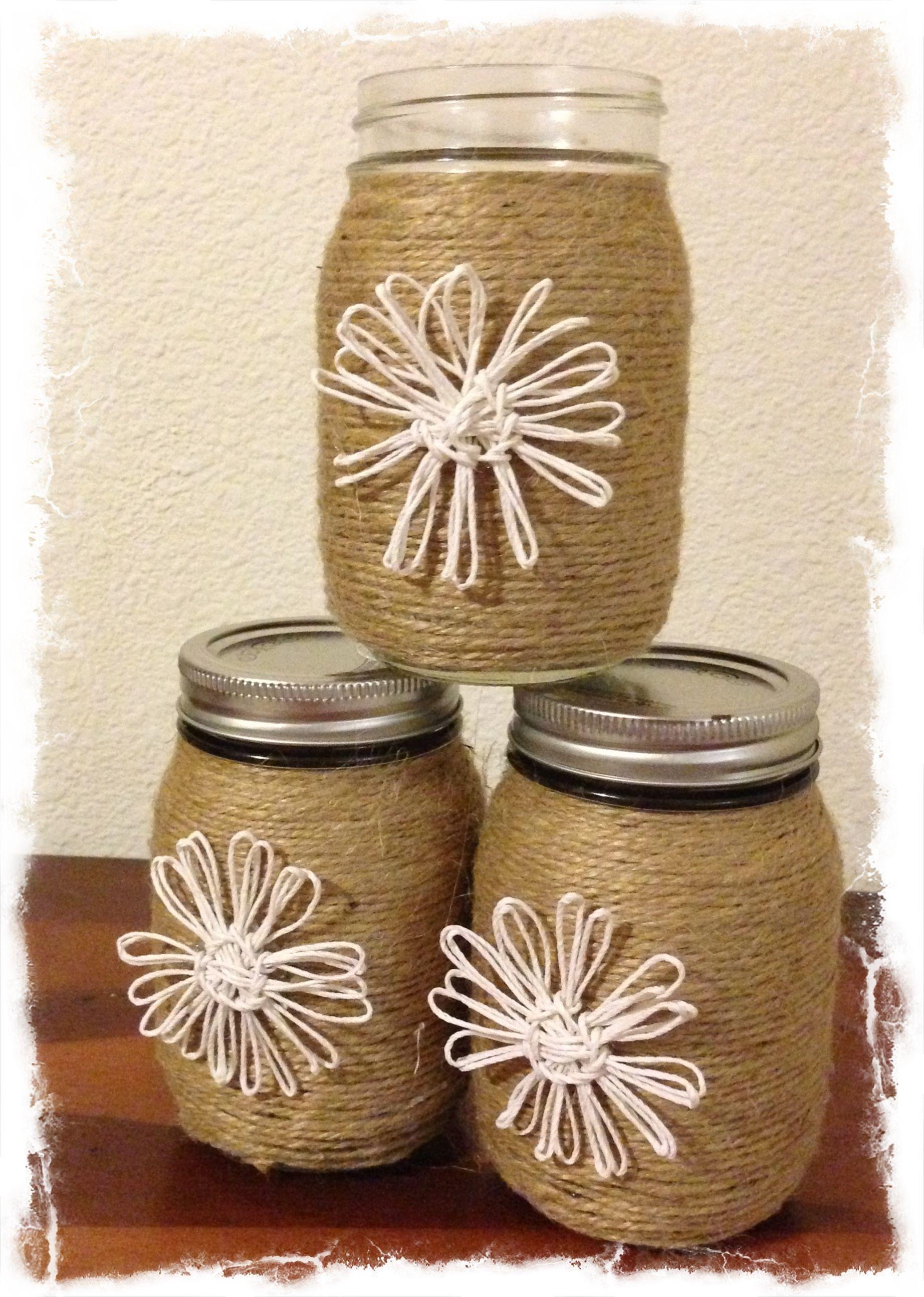 Twine Wrapped Mason Jar Twine Flowers Crafts To Try