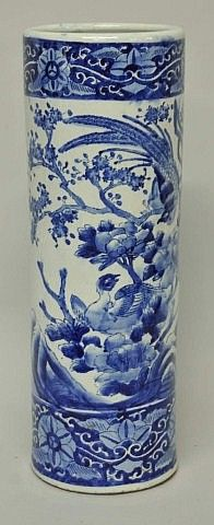 Chinese Blue And White Umbrella Stand Late 19th Early 20th Century