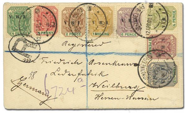 Transvaal, 1900, 1/2d-1s V.R.I. overprints (Scott 202-209), tied by Johannesbutg cds, 12 Apr 1901, on registered cover to Germany, backstamped 4 May, Very Fine. Estimate $150 - 200.