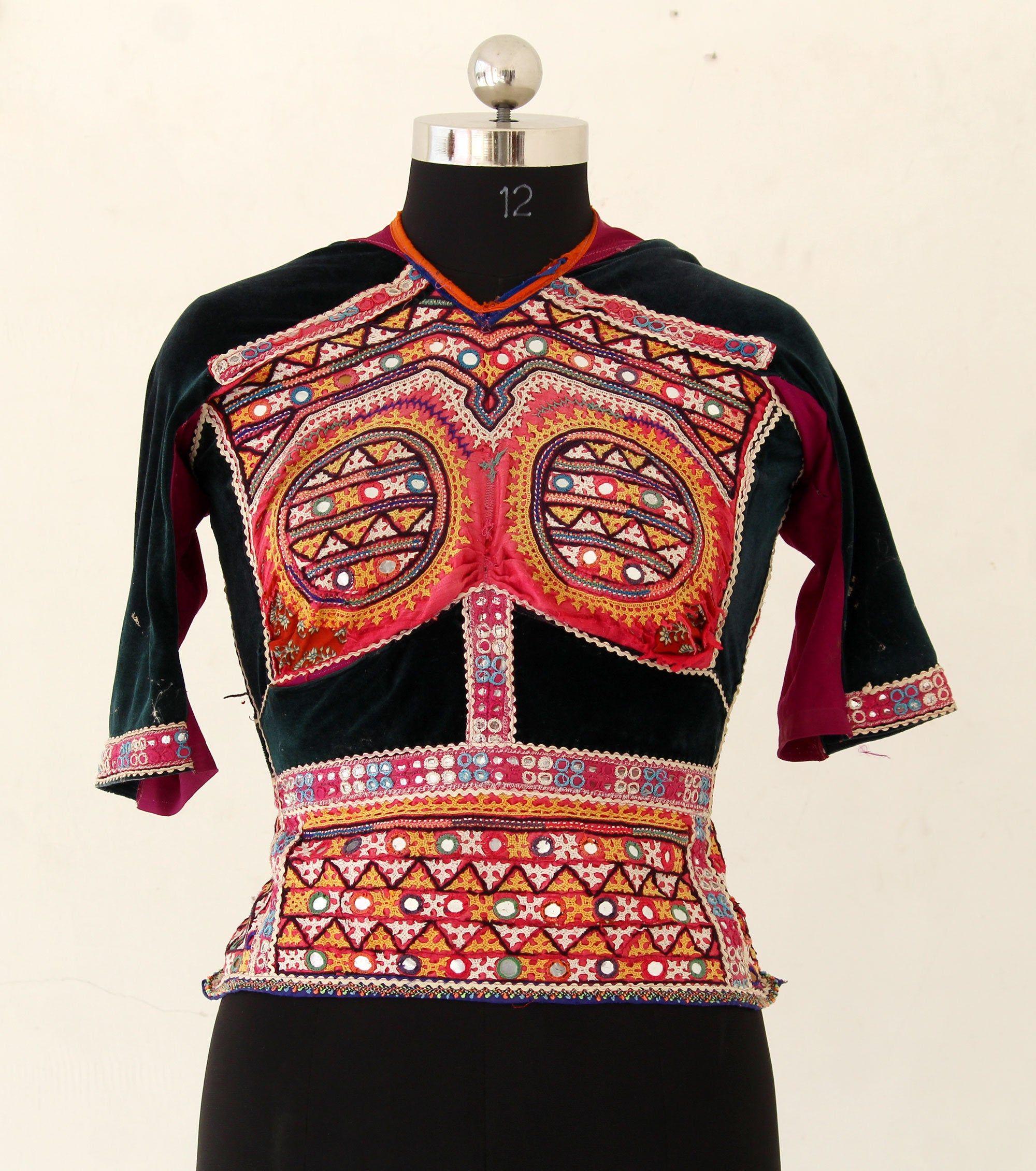 Indian Kutchi Work Vintage Choli Blouse Indian Hand Embroidred Women/'s Short Top Tribal Hippie Gypsy Mirror Work Banjara Belly Bance Choli