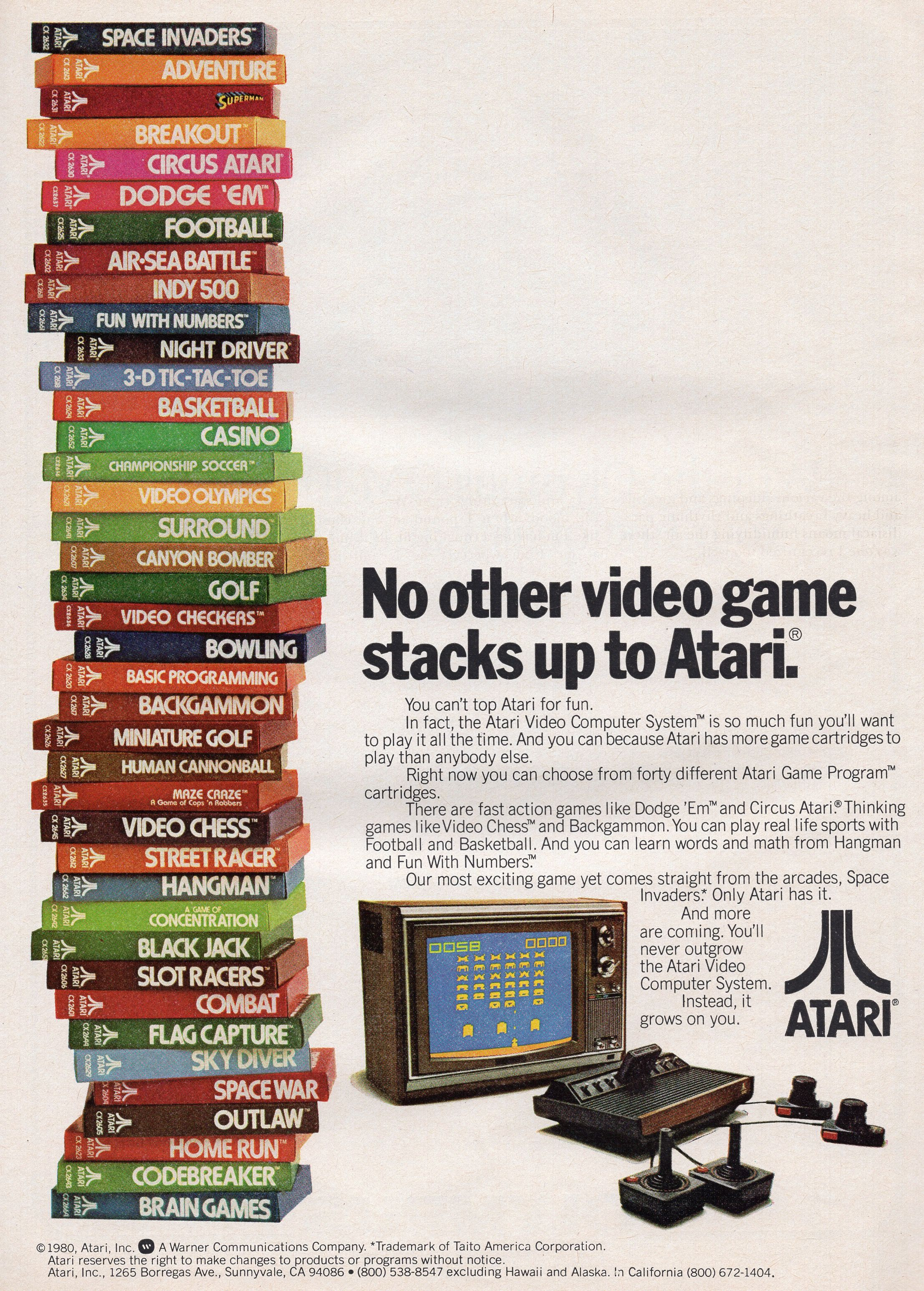 No other video game stacks up to Atari. vintageads Ads