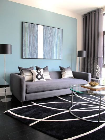 Blue Gray Living Room gray blue colors in living room | thedesignerpad - gray and blue