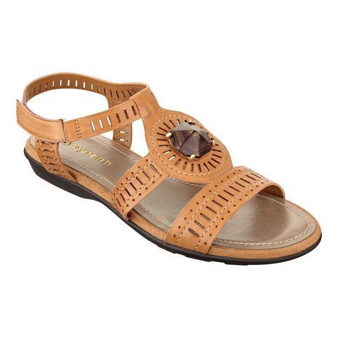 Meet Risto, the lightweight flat sandal is the perfect walking shoe - featuring a hook-and-loop ankle strap for extra flexibility. Risto offers a cushioned insole for all-day comfort. Great detailed upper, featuring a stone embellishment. Our Risto walking shoes are available in narrow, medium, wide and wide wide widths. Women's sandals.