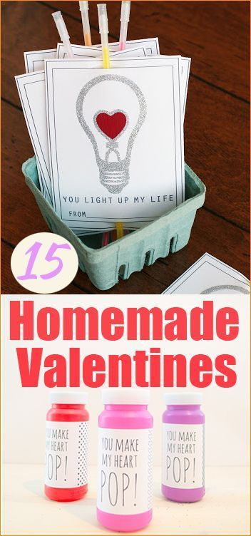 15 Homemade Valentines.  Creative Valentine's everyone will love.  Easy to make and deliver to your favorite classmates and friends.