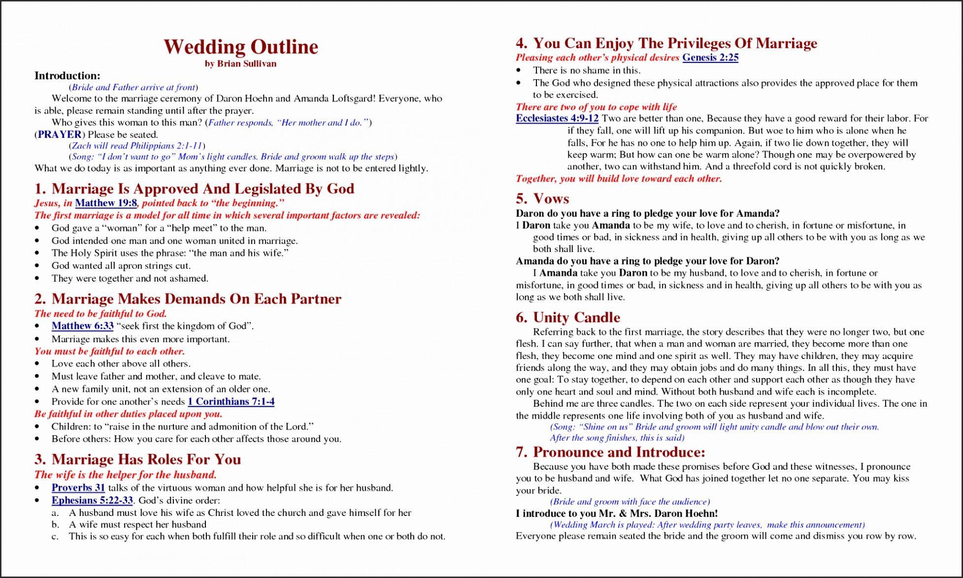 17 Sample Christian Wedding Program Besttemplates Ceremony Outline Non Religious