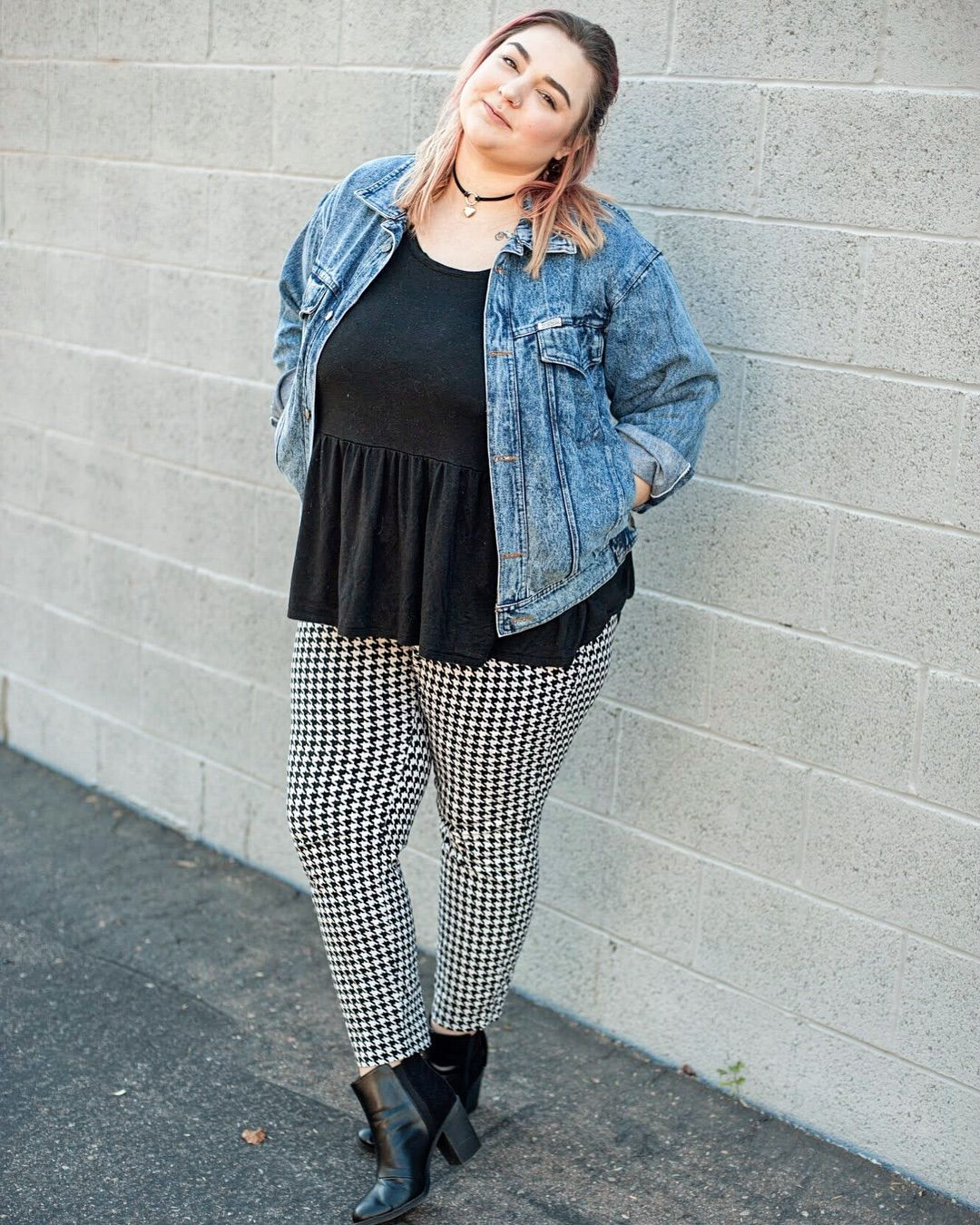 Plus Size Fashion For Women For Winter Jean Jacket Plus Size Outfit Ideas Hounds Tooth Print Plus Size Fashion Plus Size Fashion For Women Plus Size Outfits [ 1350 x 1080 Pixel ]