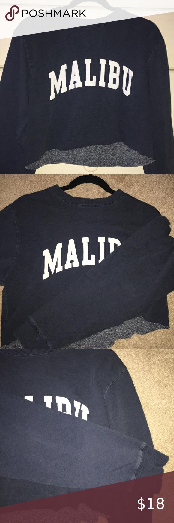 Brandy Melville Malibu Crewneck Sweatshirt Crew Neck Sweatshirt Sweatshirts Ship Clothes [ 1740 x 580 Pixel ]