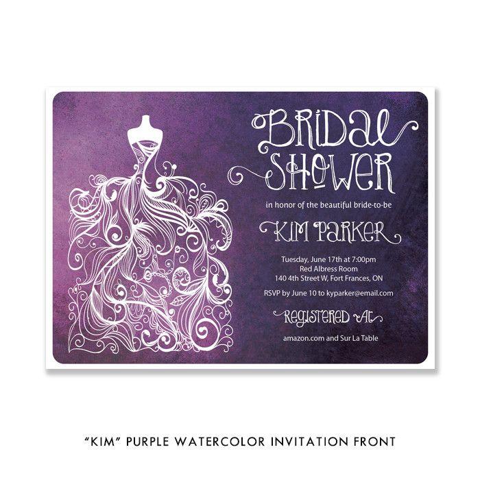 "Purple watercolor Wedding Dress ""Kim"" bridal shower invitation | digibuddha.com"