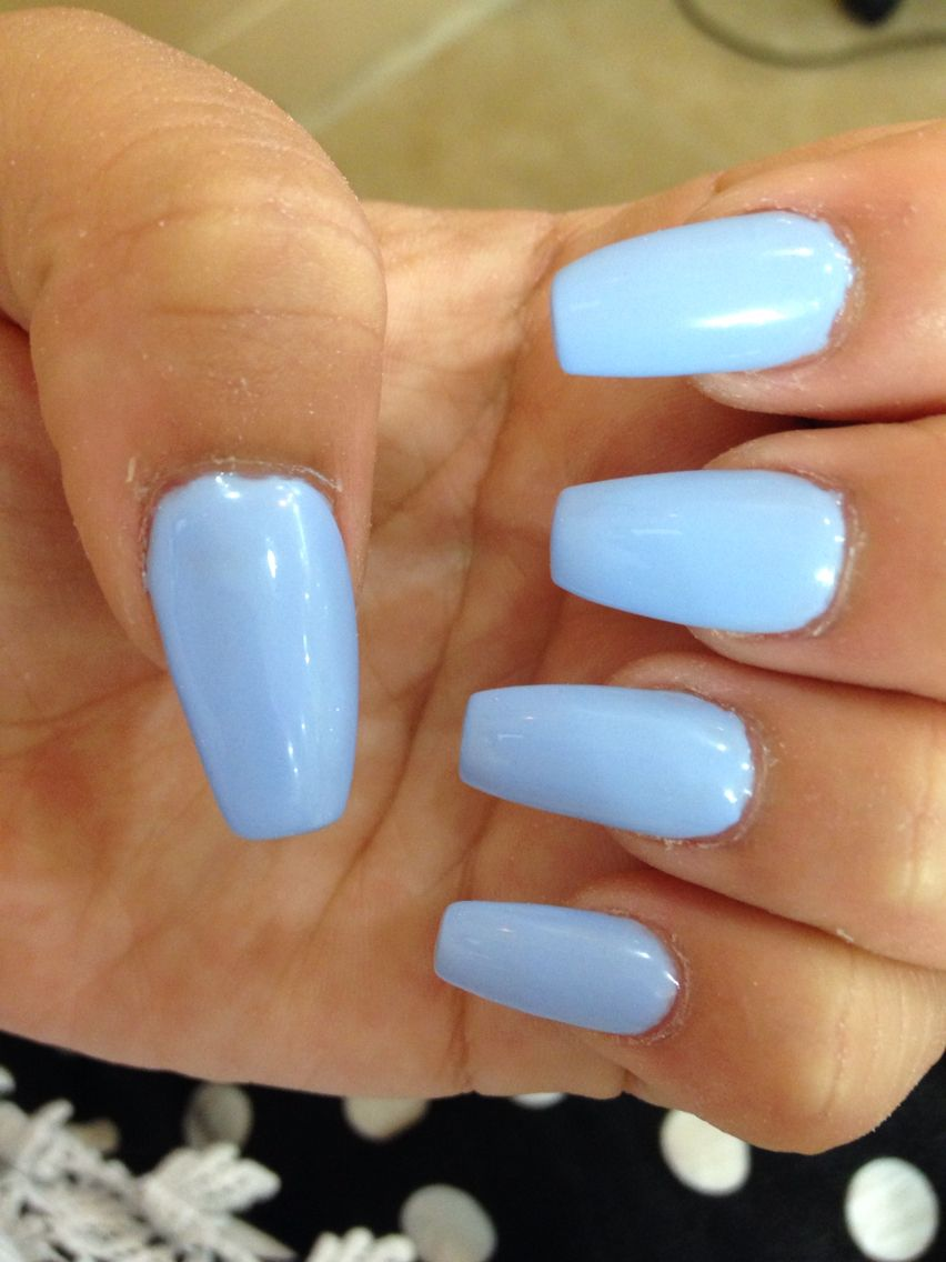 light blue coffin nails   Nails in 2019   Blue coffin ...