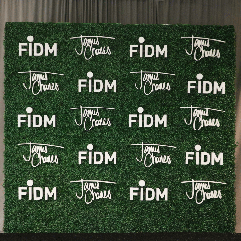 This 8 X 8 Hedge Wall Features Two Repeated Logos Fidm Fashion Institute Of Design Merchandisi Influencers Fashion Institute Of Design Fashion Institute