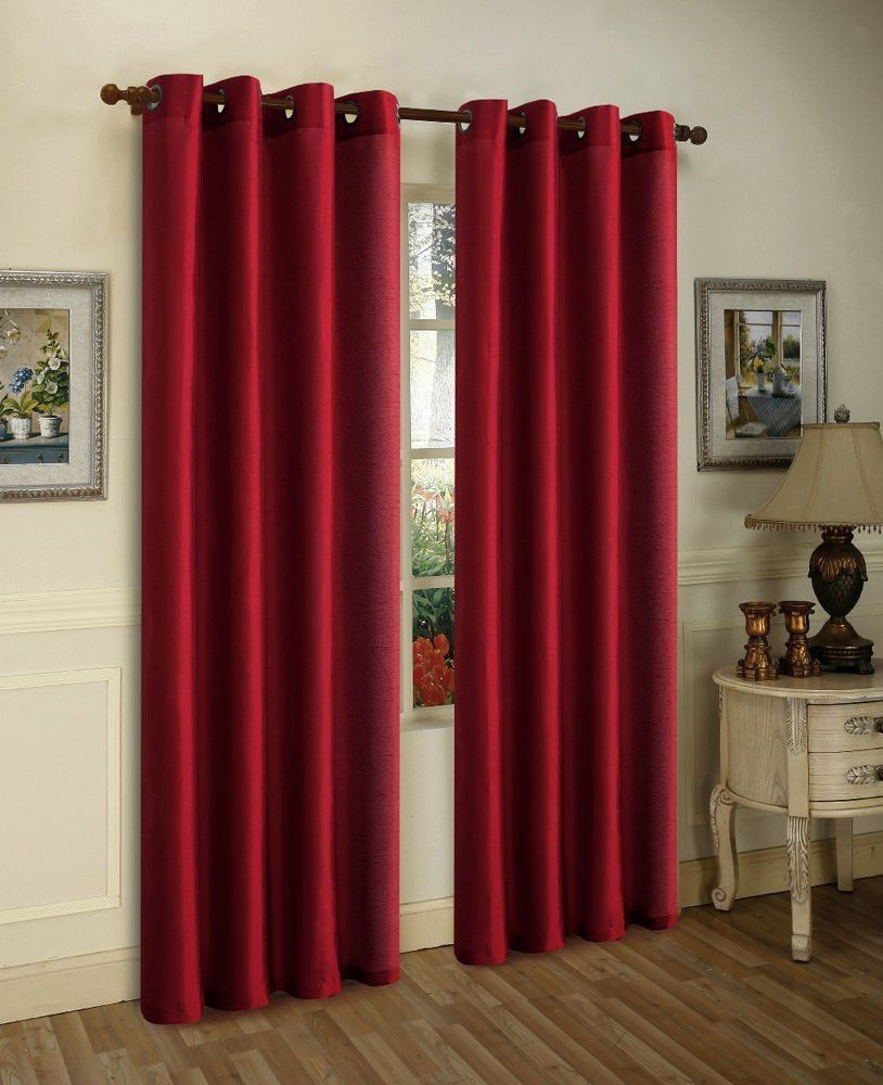 2pc Burgundy Solid Grommet Foam Lined Blackout Light Privacy Window Curtain
