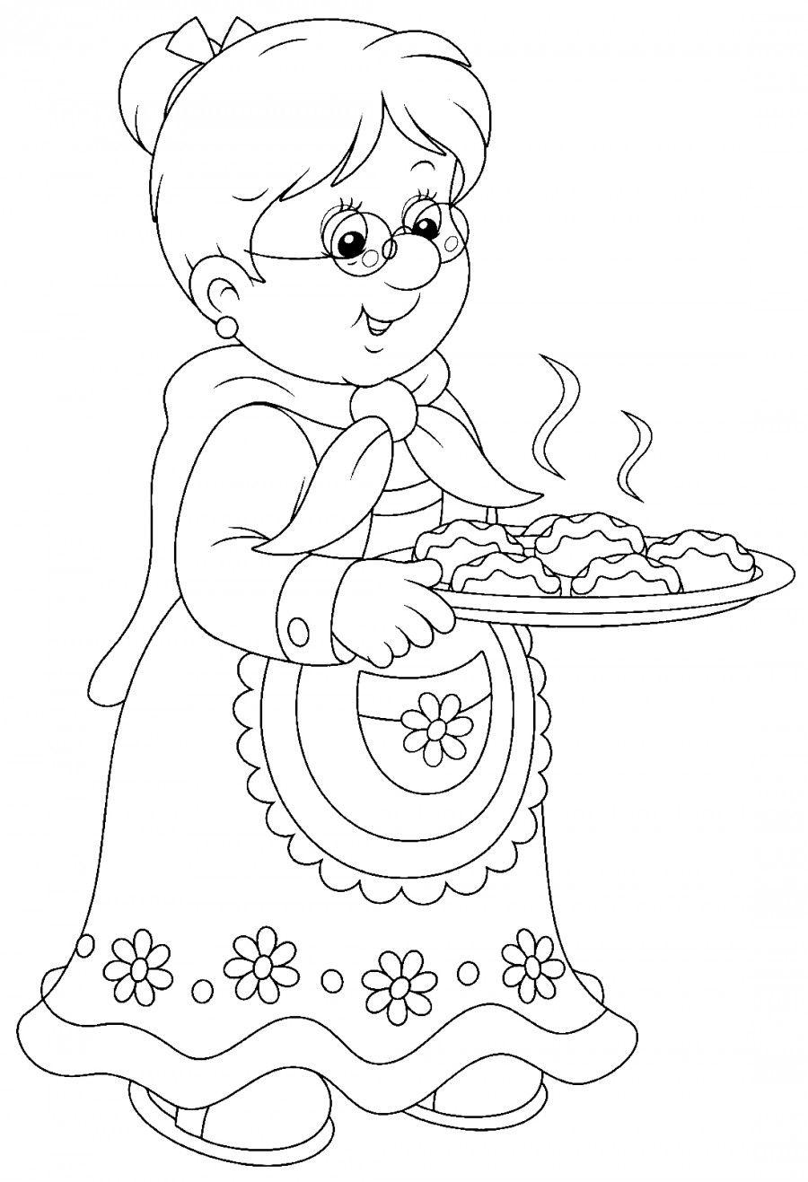 Бабушка с пирогами - раскраска №11841 | Раскраски, Бабушки ...