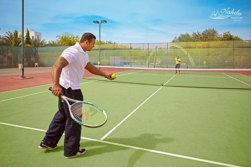 Warm Up With A Game Of Tennis And Stay Fit Alnahdaresort Luxuryresort Muscat Oman Lawntennis Stayfit Tennis Travel Luxury Resort Resort Spa