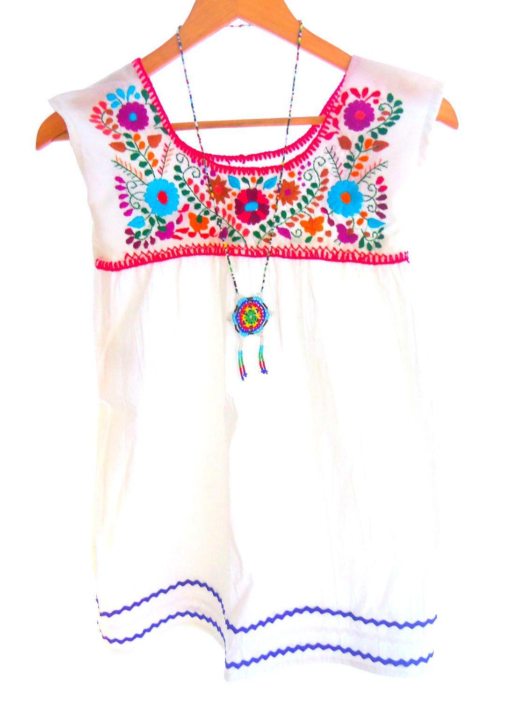 Snow white apron etsy - Snow White Handmade Embroidered Cotton Mexican Baby Tunic Dress 39 00 Via Etsy