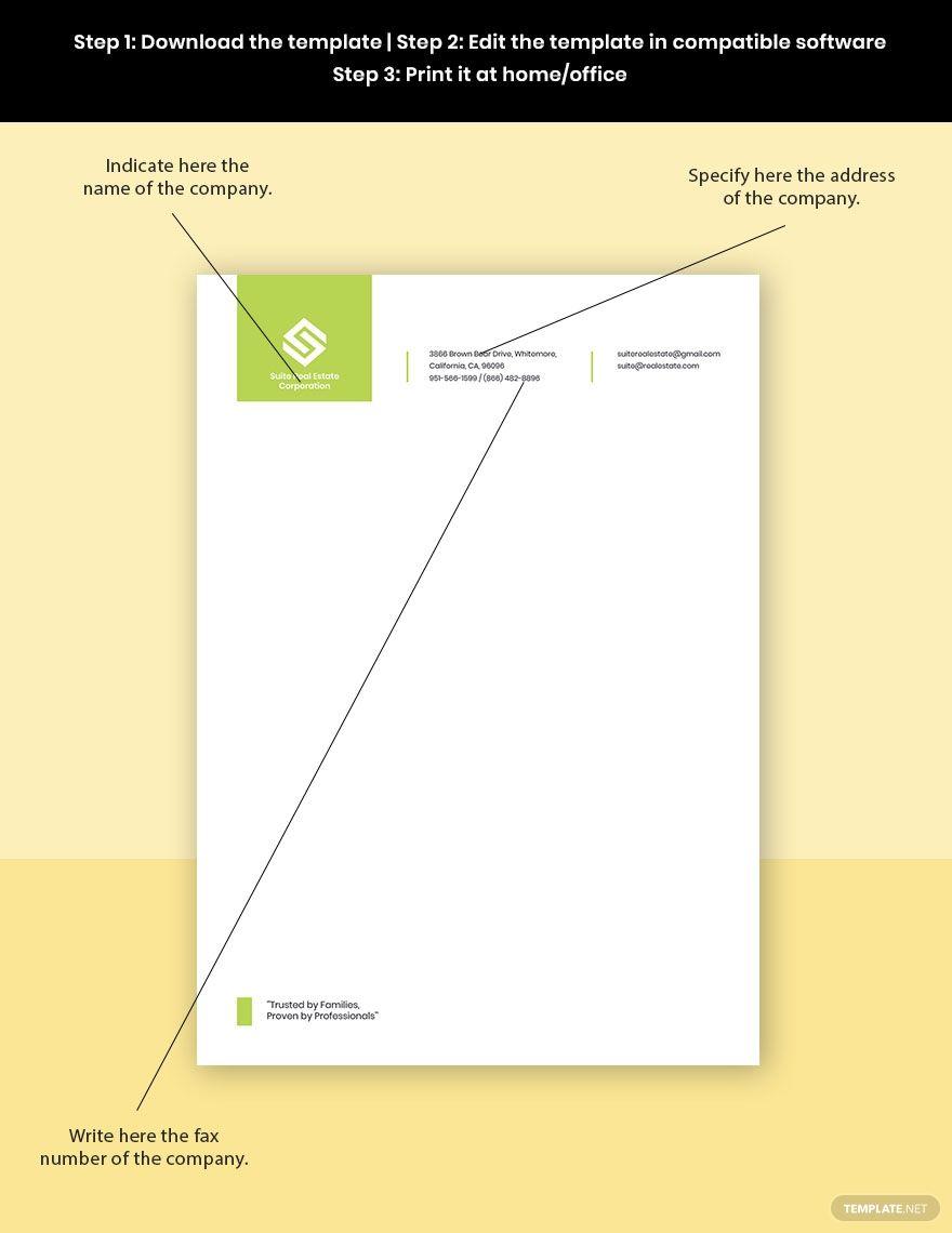 Real Estate Development Letterhead Template Word Doc Psd Indesign Apple Mac Pages Google Docs Illustrator Business Cards Creative Letterhead Template Letterhead Business