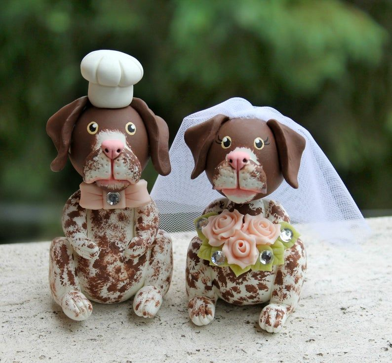 wedding cake topper with dog silhouette