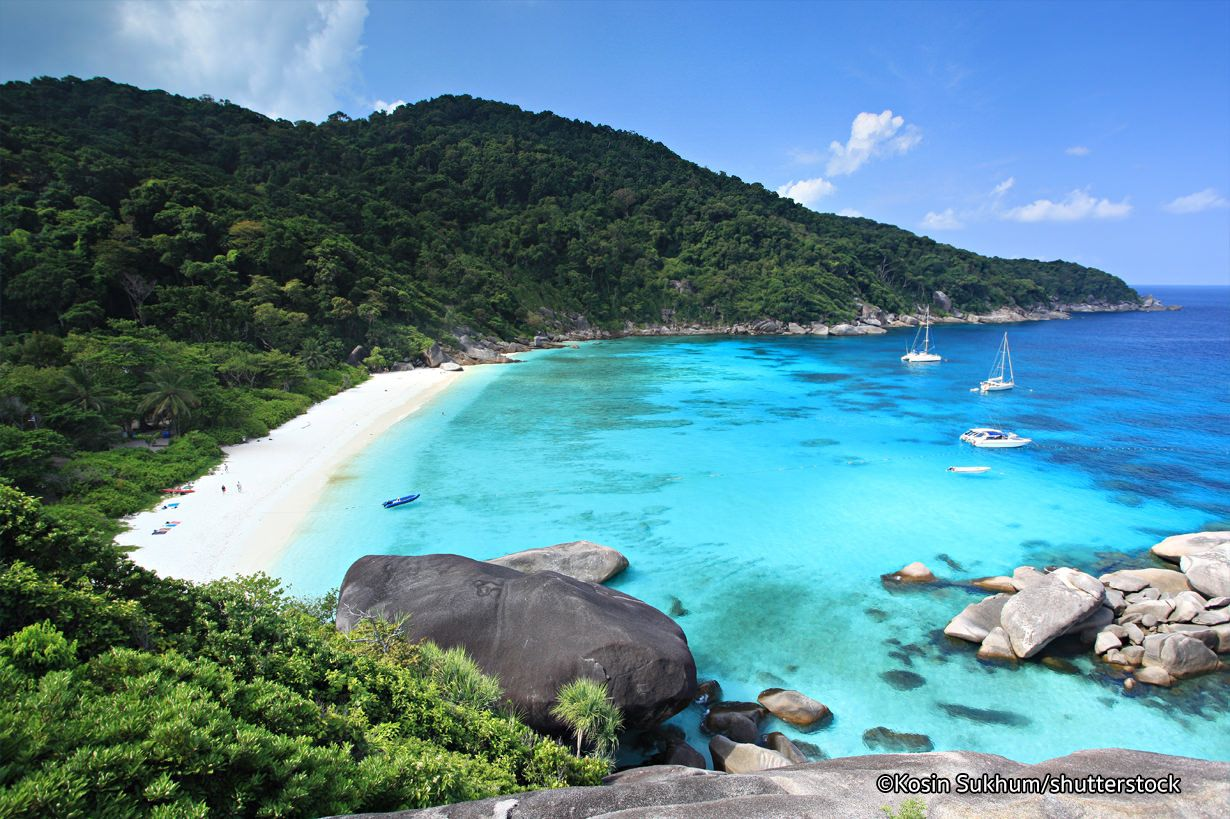 Similan Islands are located just 84 km northwest of the bustling