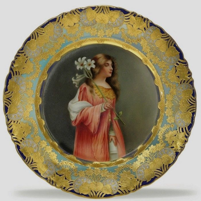 """Wagner , Royal Vienna Porcelain (Austria) — Portrait Plate 'Virtue'. D: 9 7/8"""",Late 19th Century- Early 20th Century   (700x700)"""