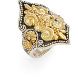 Konstantino Carved 18K Gold Fleur de Lis Ring WFUOL1b