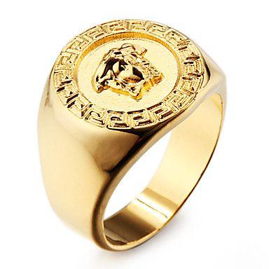 5d8331cde7ca anillo de los hombres de acero inoxidable chapado en oro 18k famosa - USD    3.99