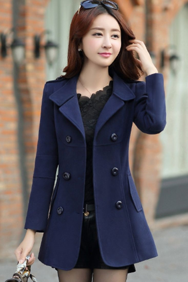 Fancy Girl Long Sleeves Woolen Lapel Coat