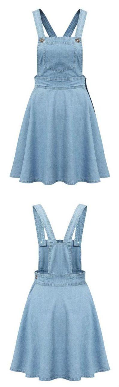 Azure Blue Denim Suspender Dress