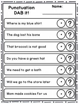 dab it activities punctuation school punctuation activities punctuation worksheets. Black Bedroom Furniture Sets. Home Design Ideas