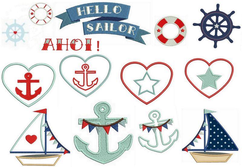 Stickmuster - Stickdatei Hello Sailor - Stickserie maritim - ein Designerstück von misskriss-sews-it-up bei DaWanda