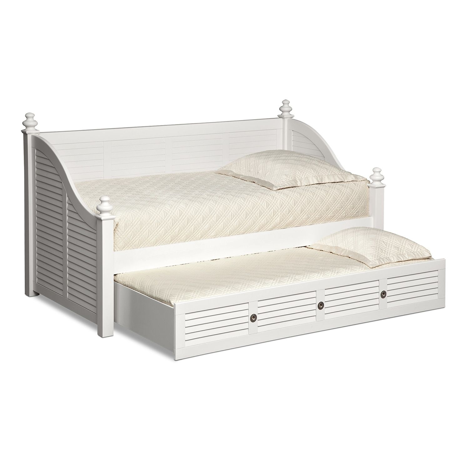 Seaside Twin Daybed With Trundle White Twin daybed