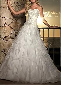 #Dressilyme Gorgeous Satin & Organza Satin A-line Strapless Sweetheart Natural Waist Full Length Ruffled Bridal Gown With Beadings and Embroidery