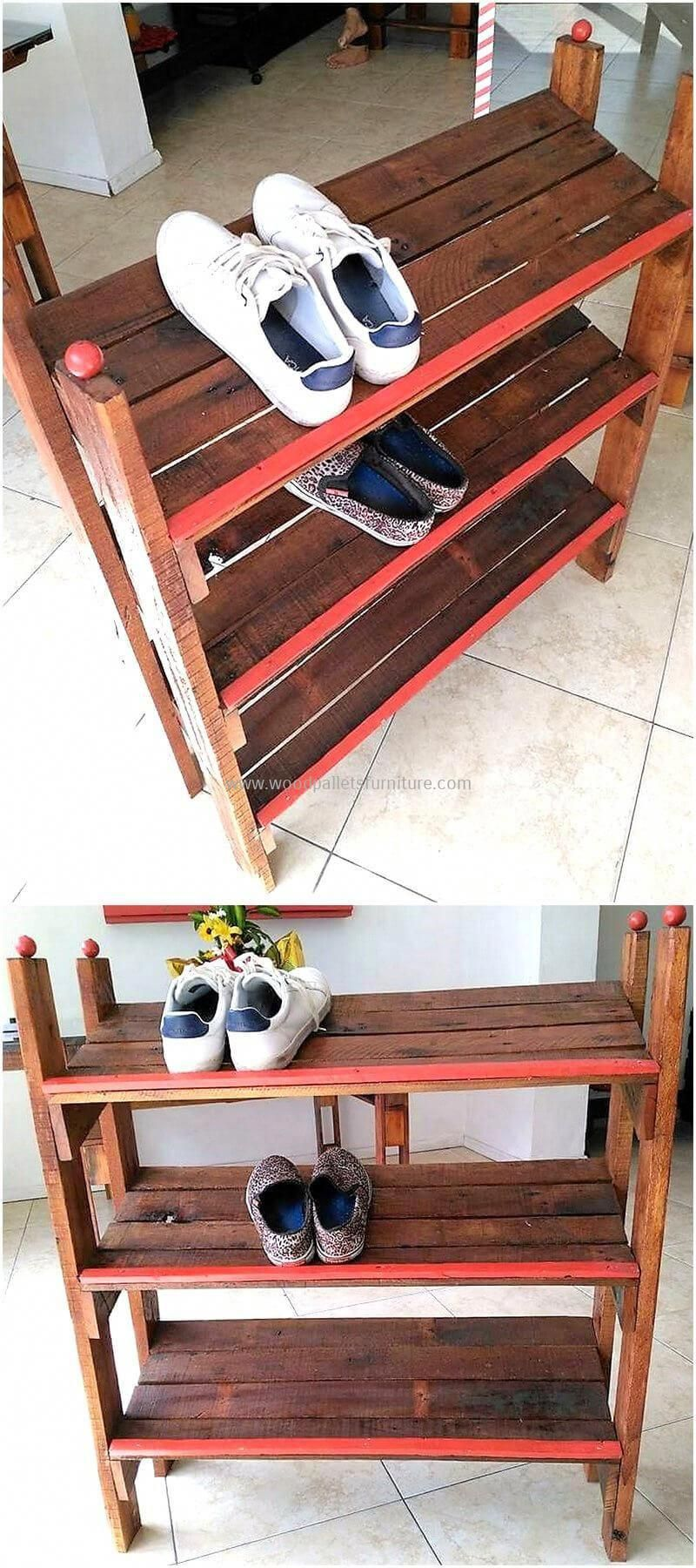 recycled pallets shoe rack #oldpallets | Pallet shoe rack ...