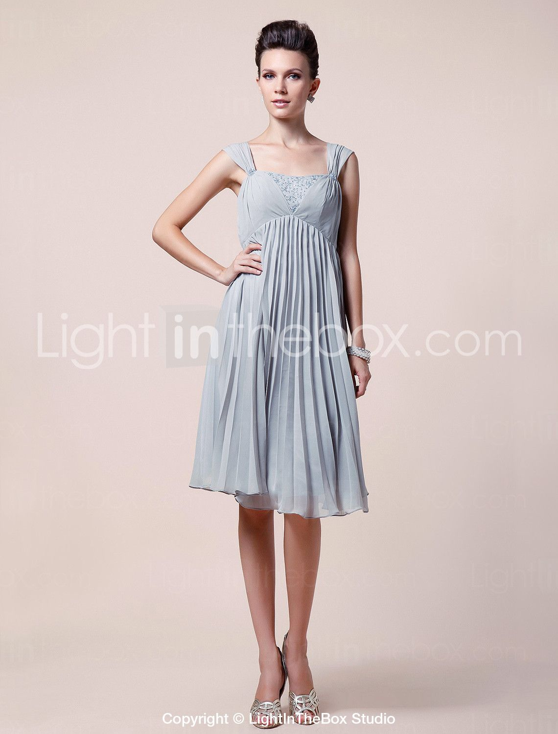 A-line Straps Knee-length Chiffon Mother of the Bride Dress - US ...