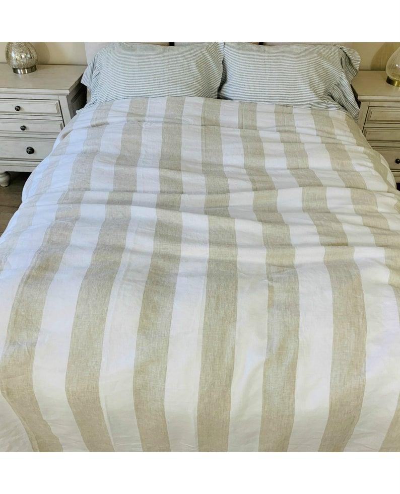 Linen And White Striped Linen Duvet Cover Yarn Dyed Striped Etsy Linen Duvet White Linen Sheets Linen Duvet Covers