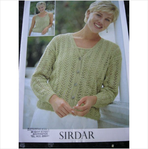 7d4e9c7a5 Sirdar knitting pattern 5570 ladies summer twin set Bust 32