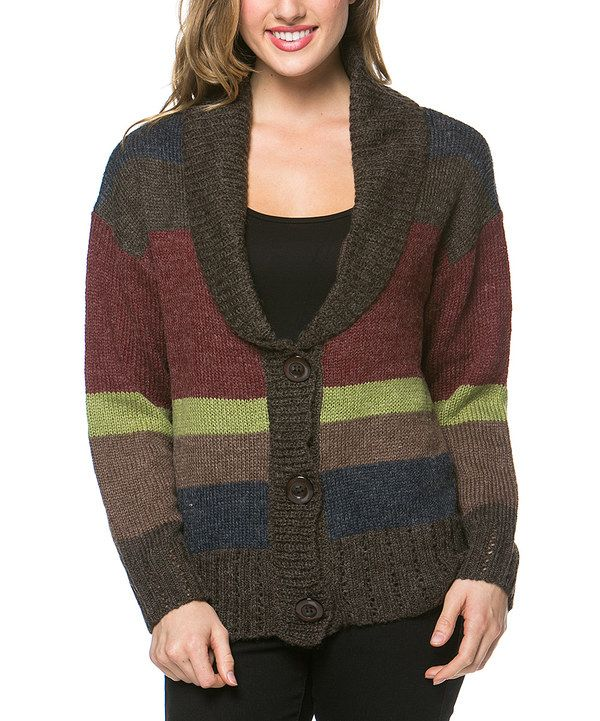 Look at this High Secret Brown & Burgundy Stripe Wool-Blend Cardigan - Women on #zulily today!