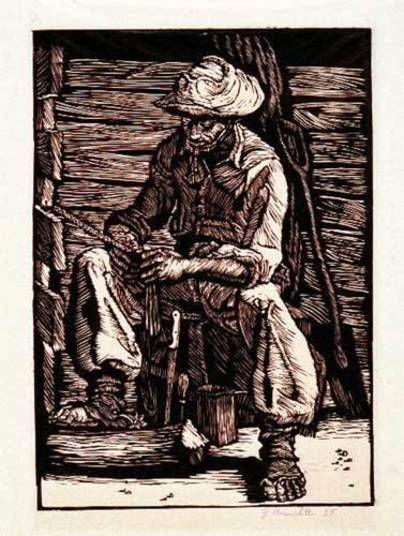 O trabalho de Bianchetti começou a ser conhecido quando participou da fundação do Clube de Gravura de Bagé.O título desta linoleogravura é Trançando. A obra foi realizada em 1955