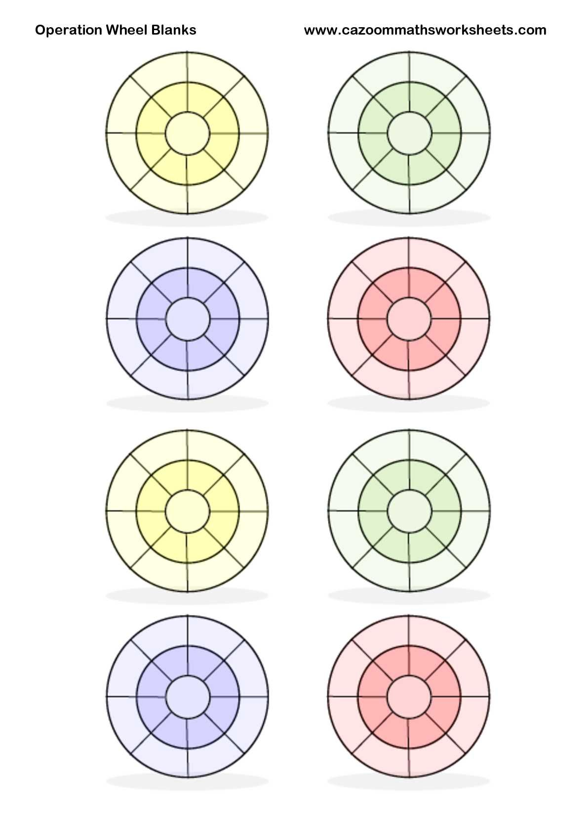 Operation Wheel Blanks for addition, subtraction or ...