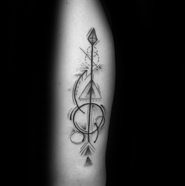 00cb8b179cf13 40 Geometric Arrow Tattoo Designs For Men - Sharp Geometry Ideas ...