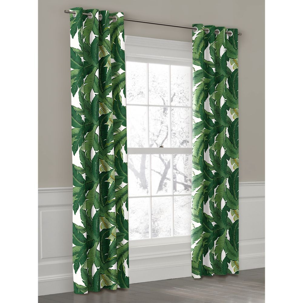 green banana leaf grommet outdoor curtain loom decor