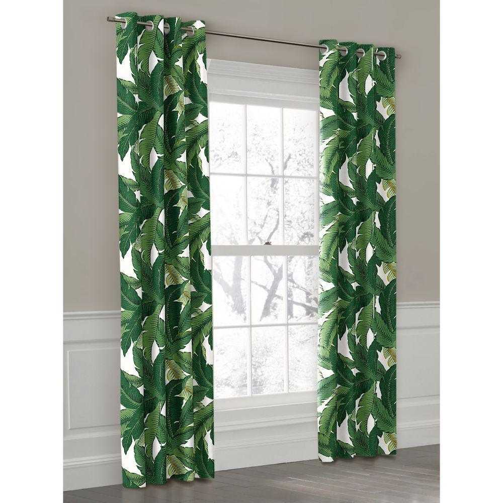 Grommet Outdoor Curtain Leaf Curtains Tropical Home Decor