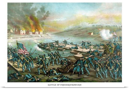 Vintage Civil War print of the Battle of Fredericksburg ~ BFD