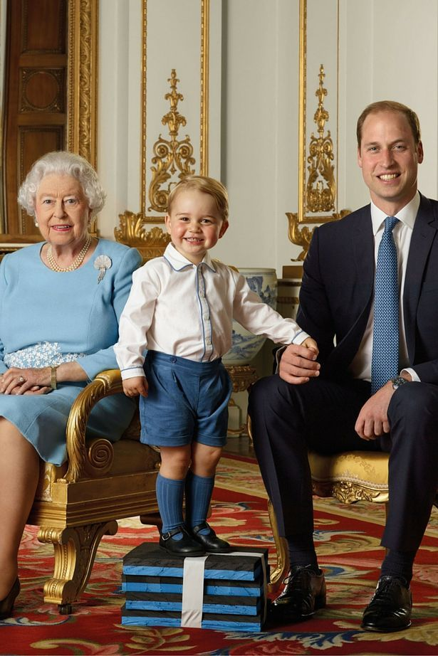 4fdea4145a72 Prince George steals the show with cheeky grin in four-generation photo  shoot