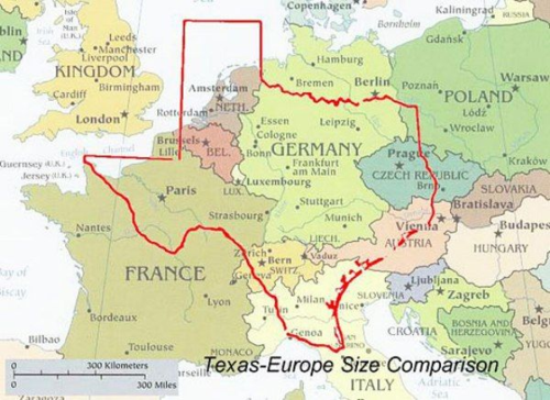 Map Of Texas Super Imposed Onto Map Of Europe Size Of Texas Only In Texas Map
