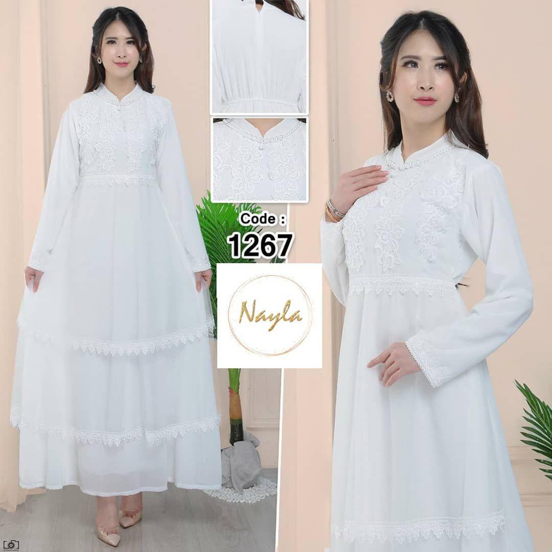 IDR 8.8 (Belum termasuk ongkir) NAYLA Baju Gamis Putih Wanita