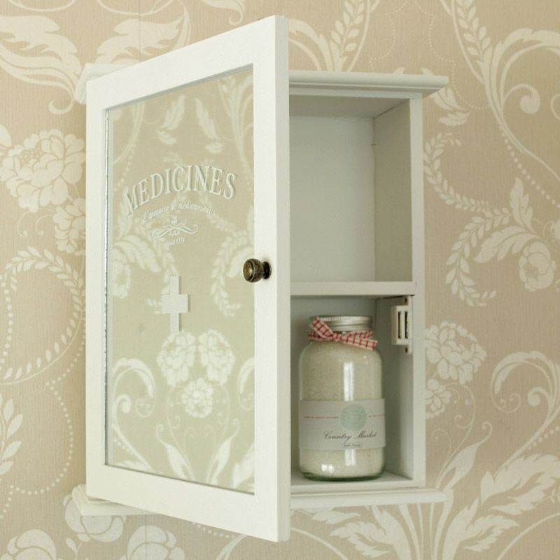 Large White Mirrored 'Medicines' Wall Cabinet