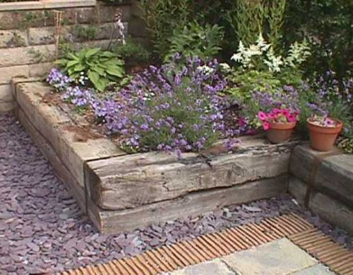 Trevor  Claire\u0027s railway sleeper bed Garden ideas Pinterest