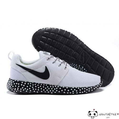 new arrival 6b4f5 a113e Nike Roshe Run Mesh Black White Polka Dot Sole Womens Mens Shoes